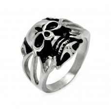 Wholesale Men's Stainless Steel Open Skull Ring - SRN036