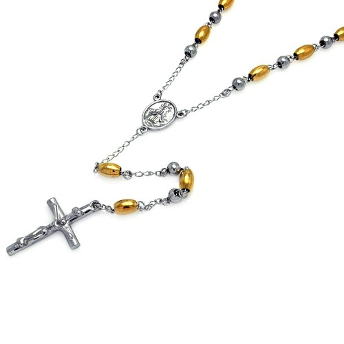 Wholesale Stainless Steel Gold Plated Two Tone Rosary - SSR00006