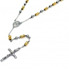 Wholesale Stainless Steel Gold Plated Two Tone Rosary - SSR00007