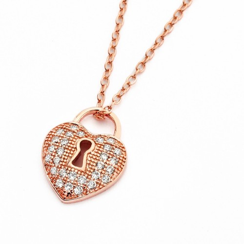 Wholesale Sterling Silver 925 Rose Gold Plated Clear CZ Heart Lock Pendant Necklace - BGP00824