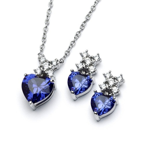 Wholesale Sterling Silver 925 Rhodium Plated Clear Round Blue Heart CZ Stud Earring and Necklace Set - BGS00399T