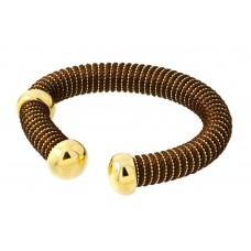 **Closeout** Sterling Silver Gold Plated Open Brown Silk Cord Italian Bracelet - ITB00139GP/BROWN