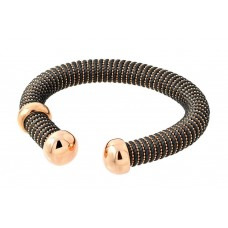 **Closeout** Sterling Silver Rose Gold Plated Open Gray Silk Cord Italian Bracelet ITB00139RGP/BROWN