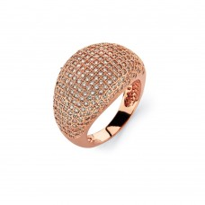Wholesale Sterling Silver 925 Rose Gold Plated Clear Micro Pave Set CZ Cigar Band Ring - BGR00756RGP