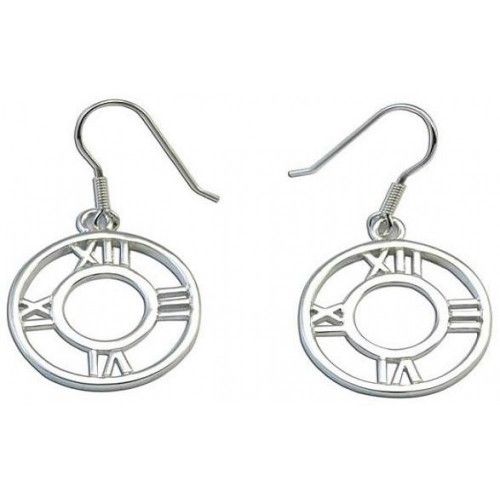 -Closeout- Wholesale Sterling Silver 925 Rhodium Plated Round Roman Numeral Clock Hook Dangling Earrings - STE00075