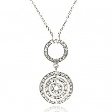 **Closeout** Sterling Silver Clear CZ Rhodium Plated Multi Circle Pendant Necklace - STP00185