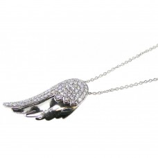 **Closeout** Wholesale Sterling Silver 925 Rhodium Plated Wing CZ Dangling Inlay Necklace - STP00584