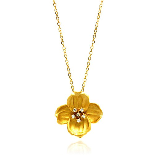 Wholesale Sterling Silver 925 Gold Plated Clear CZ Flower Pendant Necklace - STP00940