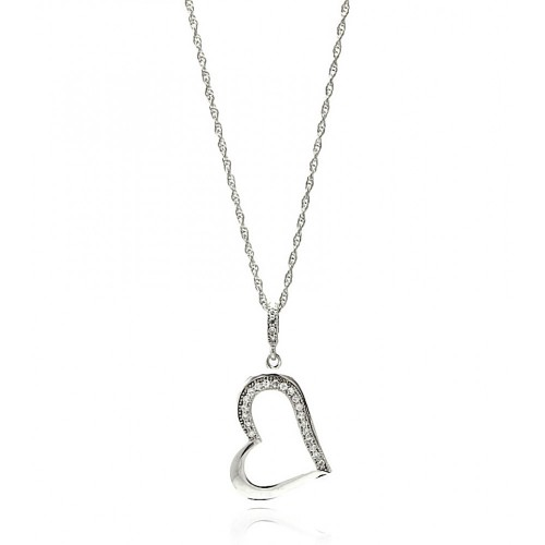 Wholesale Sterling Silver 925 Rhodium Plated Clear CZ Heart Pendant Necklace - STP01354