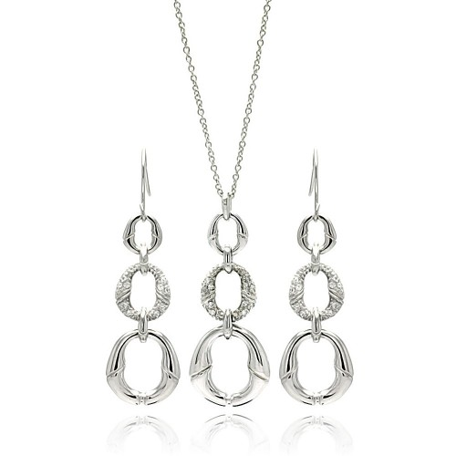 Wholesale Sterling Silver 925 Rhodium Plated Open Oval CZ Dangling Earring and Necklace Set - STS00090