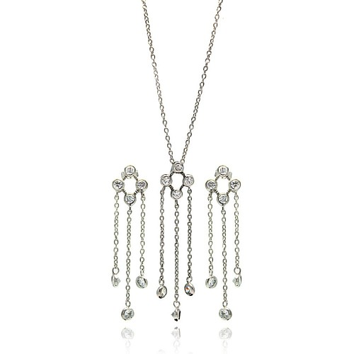 ***CLOSEOUT*** Wholesale Sterling Silver 925 Rhodium Plated Open Circle Multiple Strand Dangling Round CZ Earring and Necklace Set - STS00092