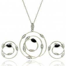 **Closeout** Wholesale Sterling Silver 925 Rhodium Plated Open Round Wire Marquis Clear and White CZ Inlay Stud Earring and Necklace Set - STS00384