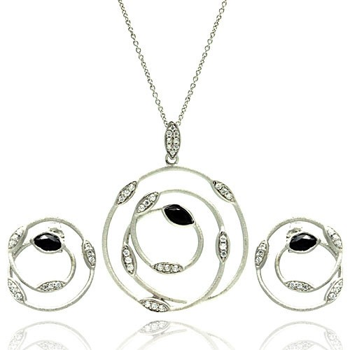 -Closeout- Wholesale Sterling Silver 925 Rhodium Plated Open Round Wire Marquis Clear and White CZ Inlay Stud Earring and Necklace Set - STS00384