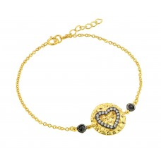 Wholesale Sterling Silver 925 Gold Plated Circle Black Heart Clear CZ Inlay Bracelet - BGB00178GP