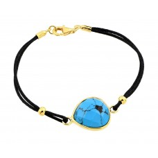 Wholesale Sterling Silver 925 Gold Plated Evil Eye Stone Black Rope Bracelet - BGB00171GP