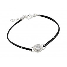 Sterling Silver Rhodium Plated Circle Center Clear CZ Black Rope Bracelet - BGB00174