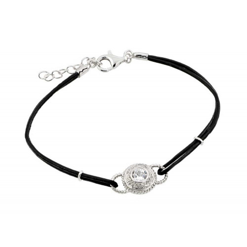 Wholesale Sterling Silver 925 Rhodium Plated Circle Center Clear CZ Black Rope Bracelet - BGB00174