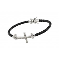 Sterling Silver Rhodium Plated Sideways Cross CZ Black Rope Bracelet bgb00175