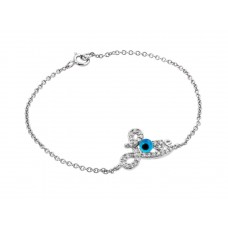 Wholesale Sterling Silver 925 Rhodium Plated Evil Eye Love CZ Bracelet - BGB00169