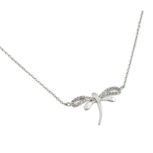 Wholesale Sterling Silver 925 Rhodium Plated Clear CZ Stone Dragonfly Pendant Necklace - BGP00845