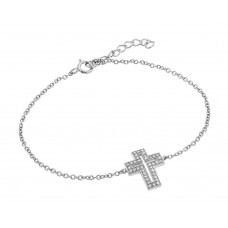 Wholesale Sterling Silver 925 Rhodium Plated Clear Open Cross CZ Bracelet - BGB00113