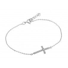 Wholesale Sterling Silver 925 Rhodium Plated Sideways Cross CZ Bracelet - BGB00127RH