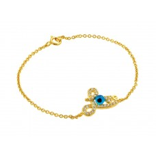 Wholesale Sterling Silver 925 Gold Plated Evil Eye Love CZ Bracelet - BGB00169GP