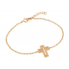 Wholesale Sterling Silver 925 Rose Gold Plated Open Cross CZ Bracelet - BGB00149