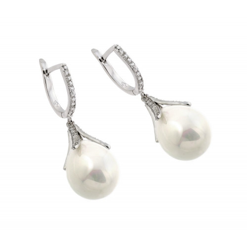 Wholesale Sterling Silver 925 Rhodium Plated Channel CZ Synthetic Pearl Lever Back Earrings - BGE00261