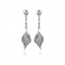 Sterling Silver Rhodium Plated Leaf CZ Inlay Dangling Stud Earring bge00269