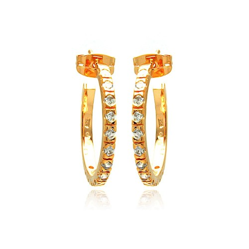 Wholesale Sterling Silver 925 Rose Gold Rhodium Plated Round CZ Hoop Earrings - BGE00277