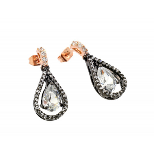 -Closeout- Wholesale Sterling Silver 925 Rose Gold and Black Rhodium Plated Teardrop CZ Dangling Stud Earrings - BGE00283