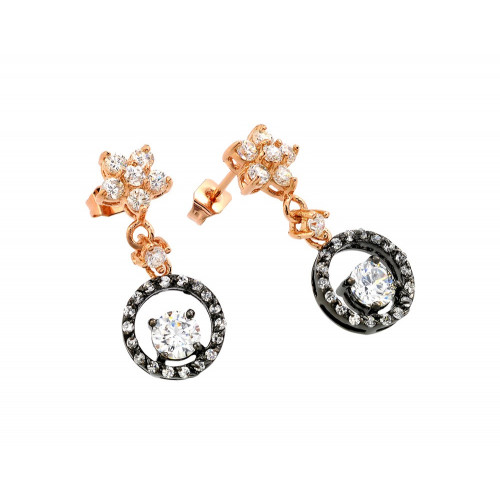 -CLOSEOUT- Wholesale Sterling Silver 925 Rose Gold and Black Rhodium Plated Flower Round CZ Dangling Stud Earrings - BGE00284