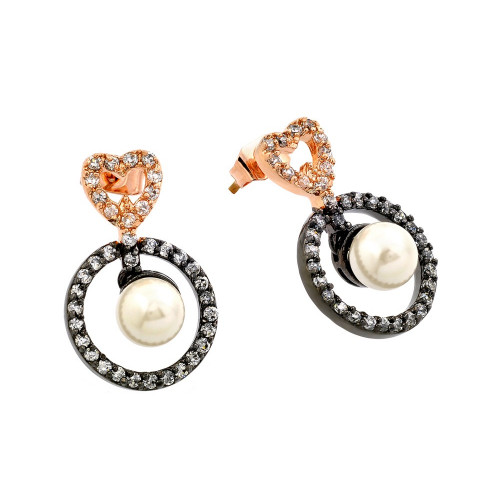 -Closeout- Wholesale Sterling Silver 925 Rose Gold and Black Rhodium Plated Heart CZ Dangling Pearl Earrings - BGE00286