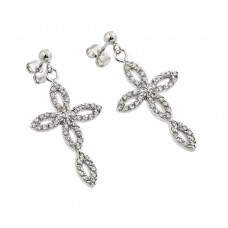 Sterling Silver Rhodium Plated Open Marqui Cross CZ Dangling Earring bge00291