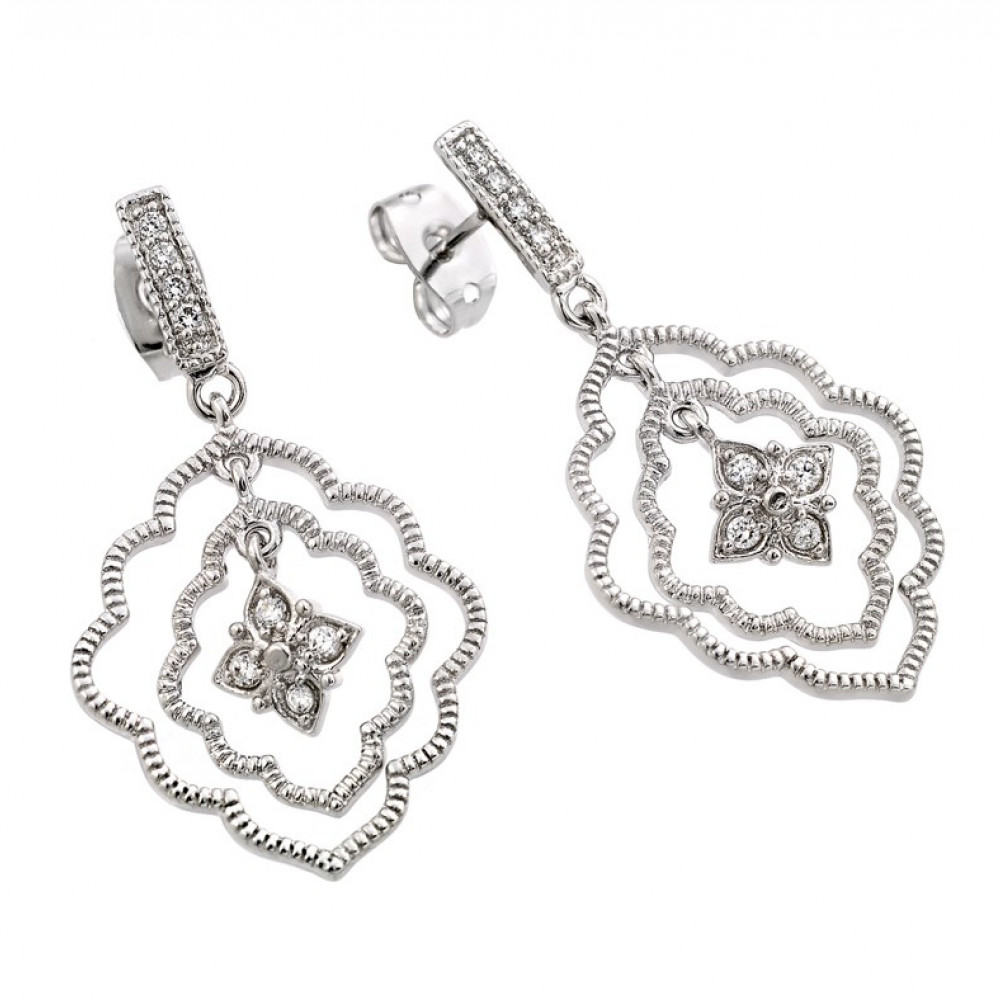 Wholesale Sterling Silver 925 Rhodium Plated Channel Curvy Marquis Flower CZ Dangling Earrings - BGE00355