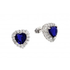 Wholesale Sterling Silver 925 Rhodium Plated Blue and Clear Heart CZ Stud Earrings - BGE00367B