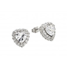 Wholesale Sterling Silver 925 Rhodium Plated Clear Heart CZ Stud Earrings - BGE00367C