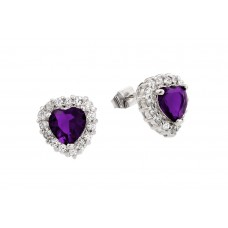 Wholesale Sterling Silver 925 Rhodium Plated Purple Heart CZ Stud Earrings - BGE00367P