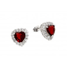 Wholesale Sterling Silver 925 Rhodium Plated Red Heard CZ Stud Earrings - BGE00367R