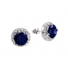 Wholesale Sterling Silver 925 Rhodium Plated Blue round CZ Stud Earrings - BGE00368B