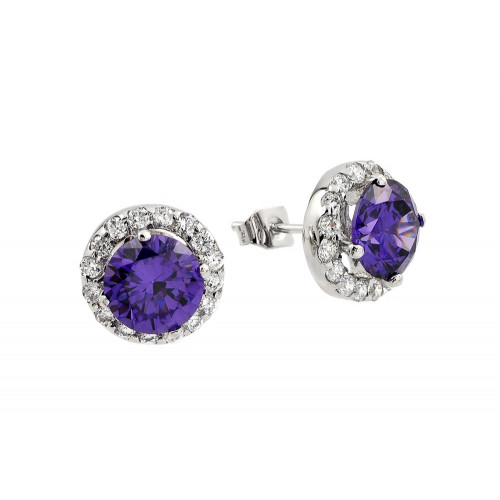 Wholesale Sterling Silver 925 Rhodium Plated Round Purple CZ Stud Earrings - BGE00368P