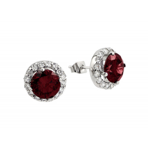 Wholesale Sterling Silver 925 Rhodium Plated Round Red CZ Stud Earrings - BGE00368R