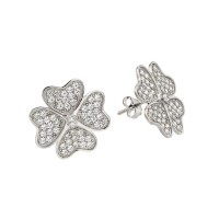 Wholesale Sterling Silver 925 Rhodium Plated Heart Clover Clear CZ Stud Earrings - STE00912