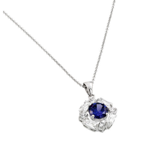 Wholesale Sterling Silver 925 Rhodium Plated Circle Blue Center CZ Necklace - BGP00809B