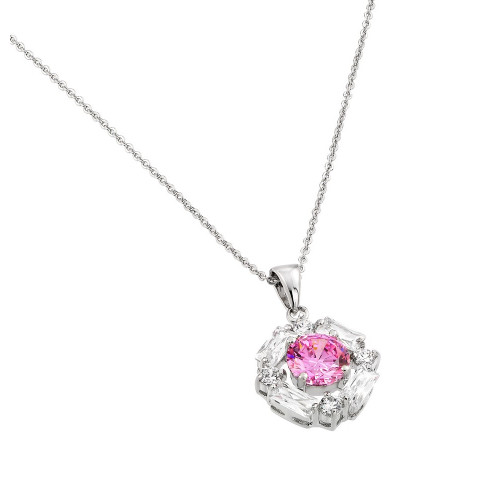 Wholesale Sterling Silver 925 Rhodium Plated Circle Center Pink CZ Necklace - BGP00809PK