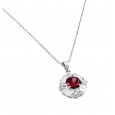 Wholesale Sterling Silver 925 Rhodium Plated Circle Center Red CZ Necklace - BGP00809R