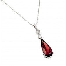 Wholesale Sterling Silver 925 Rhodium Plated Teardrop Red CZ Dangling Necklace - BGP00810R