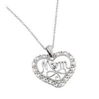 Wholesale Sterling Silver 925 Rhodium Plated Clear CZ at Center Open Heart Mom Pendant Necklace - BGP00839