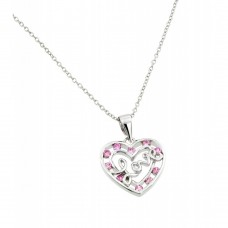 Wholesale Sterling Silver 925 Rhodium Plated Pink CZ Open Heart Love Pendant Necklace - BGP00840